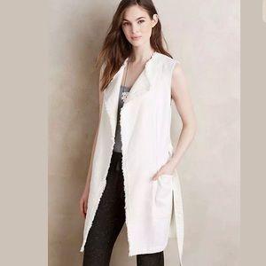 Anthropologie frayed linen/cotton belted long vest